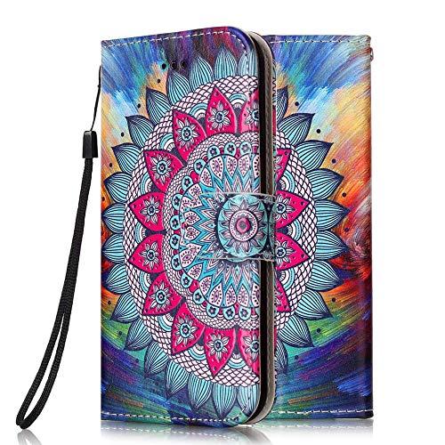Handyhülle kompatibel für Motorola Moto G8 Plus Hülle Leder Tasche Flip Hülle 3D Muster Design mit kartenfach Brieftasche Etui Schutzhülle Cover Lederhülle - Mandala-Blume