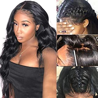 Human Hair 360 Lace Frontal Wig Pre Plucked with Baby Hair Body Wave Wigs 100% Unprocessed Virgin Brazilian Remy Wavy Human Hair Wigs for Black Women Free Part Wigs Natural Color 16inch