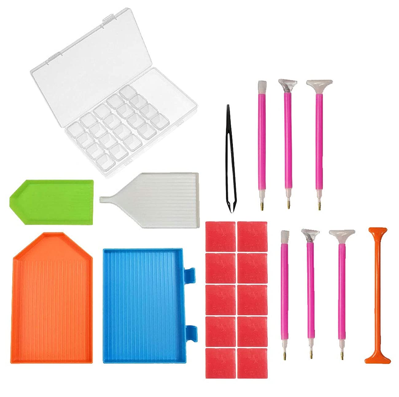 5D DIY Diamond Painting Tools,Diamond Painting Accessories Include Stitch Pen,Glue,Plastic Tray,Tweezers and 28 Slots Embroidery Box