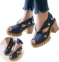 Clearance! Swiusd Womens Zip Clousure Cuffed Denim Sandals Non Slip High Heel Peep Toe Sandals Trendy Thick Platform Beach Shoes