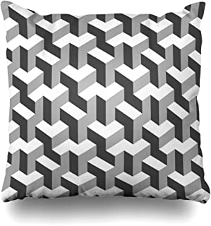Ahawoso Decorative Throw Pillow Cover Mosaic Pattern Abstract Black White Geometric Optical Shapes Polygon 10 Flat Prism Convex Creative Home Decor Zippered Square Size 20