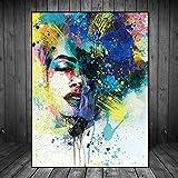 Sadhaf azul encantador colorido retrato de la muchacha de impresión de la lona de la pintura de la pared para adultos mariposa lienzo de impresión a6 70x100 cm
