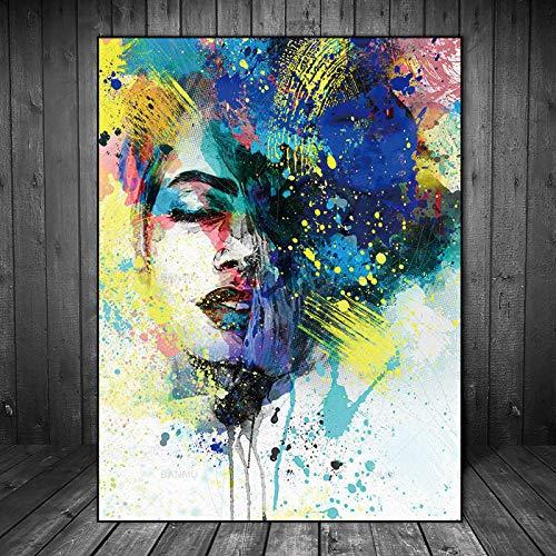 SADHAF Blue Charming Buntes Mädchen Portrait Print Wand Leinwand Gemälde Für Erwachsene Schmetterling Leinwand Druck A2 40x50cm