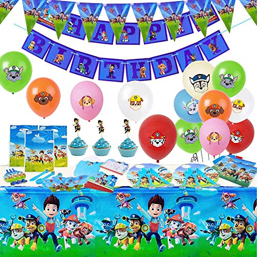 Paw patrol birthday Party Supplies Set - 157pcs Birthday Decorations for 10 Guest Paw partol Theme Party includes Happy Birthday Banner,Tablecover,Pennant,Plates,Knives,Spoons,Forks,facemask,Paw partol Balloons,goodie bags For Paw patrol Birthday Party Decoration