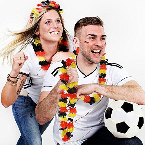 German Trendseller - 6 x Hawaiianische Deutschland - Blumen Kette ┃ Neu ┃ Deutschland Party ┃ WM Jubel - Hula Kette ┃ 6 Stück