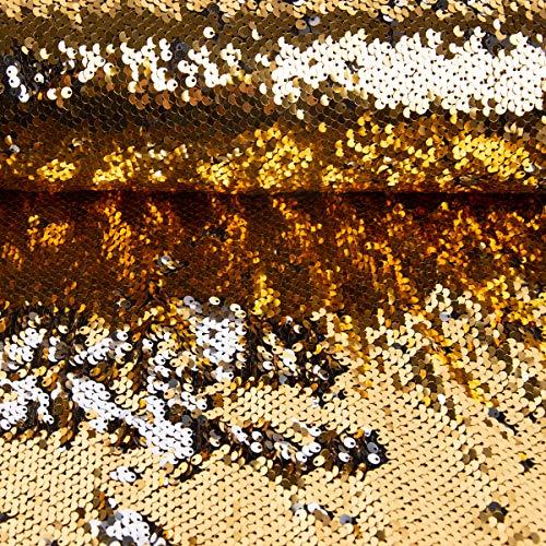 SCHÖNER LEBEN. Paillettenstoff Streichpailletten-Stoff Farbwechsel-Stoff Gold Silber schimmernd 1,43m Breite