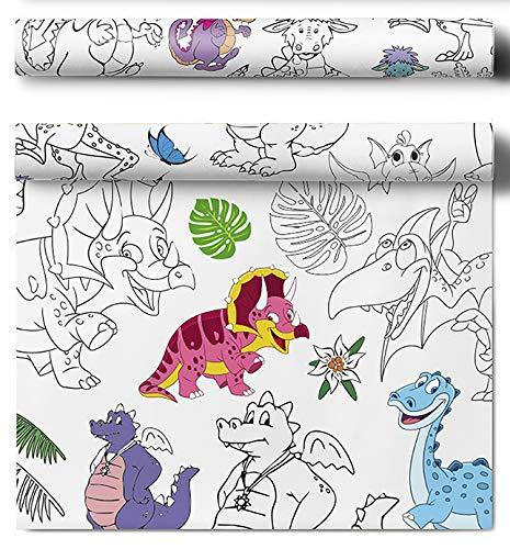 HarFri Afwasbaar tafelkleed om in te kleuren beschilderbaar tafelkleed decoratie kinderverjaardag (Dino)