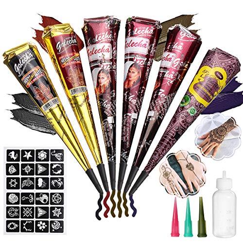 Skymore 6x Natürliche Tattoo Kegel Cones + 24x Tattoo Schablone für Temporäre Tattoos, Natürliche Kegel, Tattoo Paste, Tattoo sticker Körperkunst mit 1 X Applicator Fles, 3 X Kunststoffdüse
