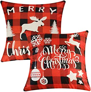 Songtec Christmas Pillow Covers 18x18 Inches, Farmhouse Decorations Outdoor Patio Throw Pillow Covers Cushions with Red Plaid - 2 Packs