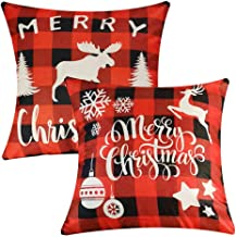 Decorative Throw Pillow Cover 18x18, Cotton Linen Pillow Cushion Cases for Couch, Sofa, Bed (Insert Not Included) - (Chris...