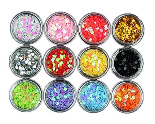 Nail Art Equipment 12 Couleur Love Heart Shit Glitters Nail Decor