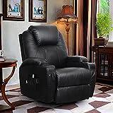 Homedex 360 Degree Swivel Massage Recliner PU Leather Sofa Chair Ergonomic Lounge Swivel Heated with Control(Black)