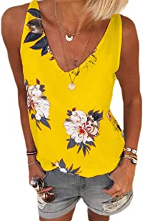 Coolred Women's V-Neck Floral Print Plus-size Casual Summer Cami Vest