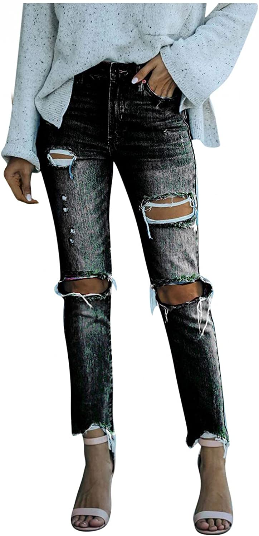 Dunacifa Jeans for Women High Waisted Stretch Skinny Ripped Straight Leg Boyfriends Jean Distressed Frayed Hem Denim Y2K
