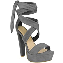 b1669cb75dab Fashion Thirsty Womens Tie Lace Up Ankle High Heels Block Pla .