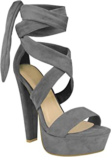 Fashion Thirsty Womens Tie Lace Up Ankle High Heels Block Platforms Party Open Shoes