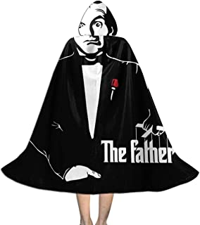 SEDSWQ The Father Al Bundy Married with Kids Godfather Unisex Kids Hooded Cloak Cape Halloween Xmas Party Decoration Role Cosplay Costumes Black