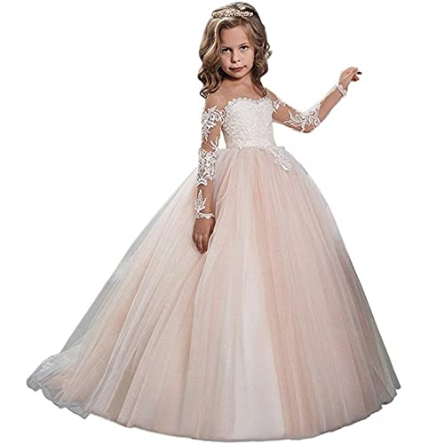 12ab239894 Kalos Dress Shop Lace Bodice Tulle Puffy Flower Girl Dress Lace Appliques  Girls First Communion Dress