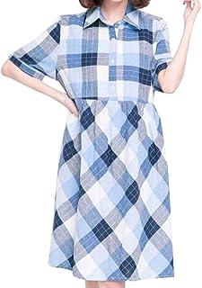Marshel マタニティ ワンピース チュニック チェック レディース 産前 産後 ブルー フリーサイズ