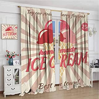 wonderr Customized Blackout Curtains W84 x L84 Inch,Decor/Room Darkening Window Curtains,Ice Cream,Vintage Style Sign with Homemade Ice Cream Best in Town Quote Print,Red Coral Cream Tan