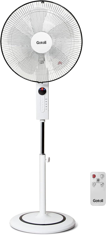 Gotoll Ventilador de Pie Silencio con 5 Aspas, Cabeza Diámetro 47cm, 3 Velocidades, 3 Modos de Viento, Altura Ajustable 110 a 130cm, Oscilación 95°, Temporizador 8 Horas, con Control Remoto, 55W