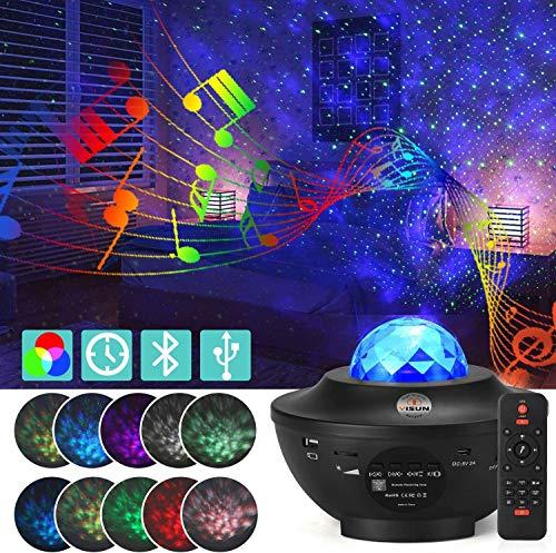 YISUN LED Projektor Sternenhimmel Lampe, Sternenhimmel Projektor Lampe mit Fernbedienung, Bluetooth Lautsprecher-Musik hören-Wasserwellen Welleneffekt für Party, Weihnachten, Ostern, Halloween