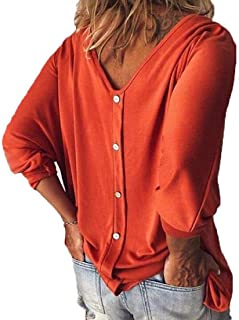 Yeirui Women's V Neck 3/4 Sleeve Button Loose Fit Casual T-Shirts Blouse Tops
