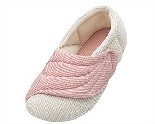 あゆみシューズ ワイドベルトワッフル ピンク Mサイズ(22.0~23.0cm) 足囲9E相当 片足(右足) [室内用] 介護シューズ