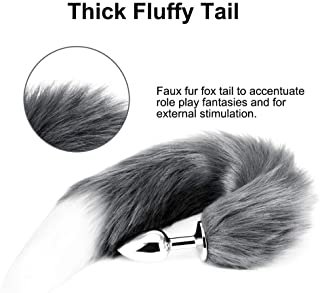 Gray&White Änàles Fox Tail Stainless Steel Plug for Male Female (Silver+Gray)
