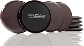 """SuperSliders 4724395N Reusable Furniture Sliders for Carpet- Quickly and Easily Move Any Item, 3-1/2"""" Brown (8 Pack)"""