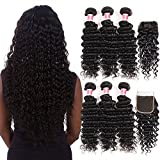 CYNOSURE Hair Deep Wave Bundles with Closure 100% Unprocessed Virgin Deep Wave Brazilian Hair 3 Bundles with Closure Free Part Natural Black Color (14 16 18+12inch closure)