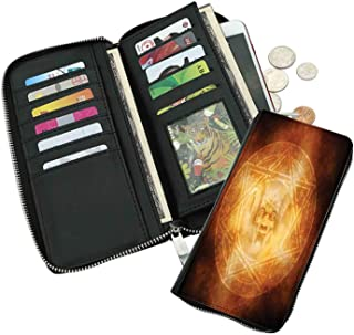 Fashion long wallet-Demon Trap Symbol Logo Ceremony Creepy Ritual Fantasy Paranormal-Anti-radio frequency identification,leather texture. Large capacity,ID card,cash,credit card.