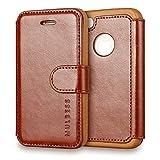 Mulbess Funda iPhone 4s [Libro Caso Cubierta] [En Capas de Billetera Cuero] con Tapa Magnética Carcasa para iPhone 4 / 4s Case, Marrón