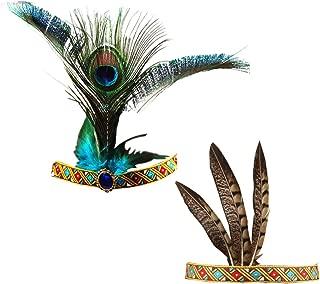 Feather Headband Indian Headpiece, Bohemian Tassels Hair Band Headwear American Headpiece Headwear for Women Girls