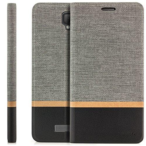 zanasta Tasche kompatibel mit ZTE Blade L5 Plus Hülle Flip Case Schutzhülle Handytasche mit Kartenfach Grau