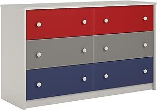 Cosco Kaleidoscope 6 Drawer Dresser, Classic/White Stipple
