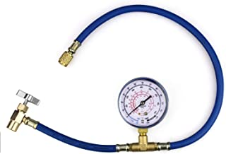 BACOENG R134A R12 R22 Economy Refrigerant U-Charge Hose Kit Recharge Hose with Gauge, R-134a Can to R-12/R-22 Port