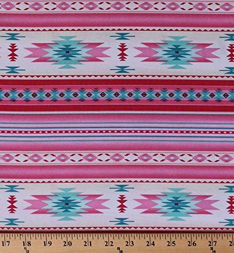 Cotton Southwestern Stripes Native American Aztec Tribal Southwest Tucson Pink Girls' Cotton Fabric Print by The Yard D366.28