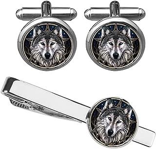 Wolf Head Cufflinks & Tie Clips Custom Wild Animals Mens Shirt Cufflink Jewelry