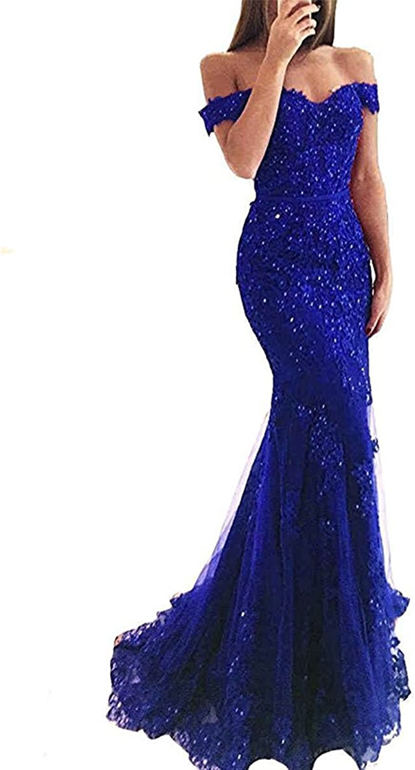 Ri Yun Womens Sexy Off The Shoulder Prom Dresses Long Mermaid Style V Neck Formal