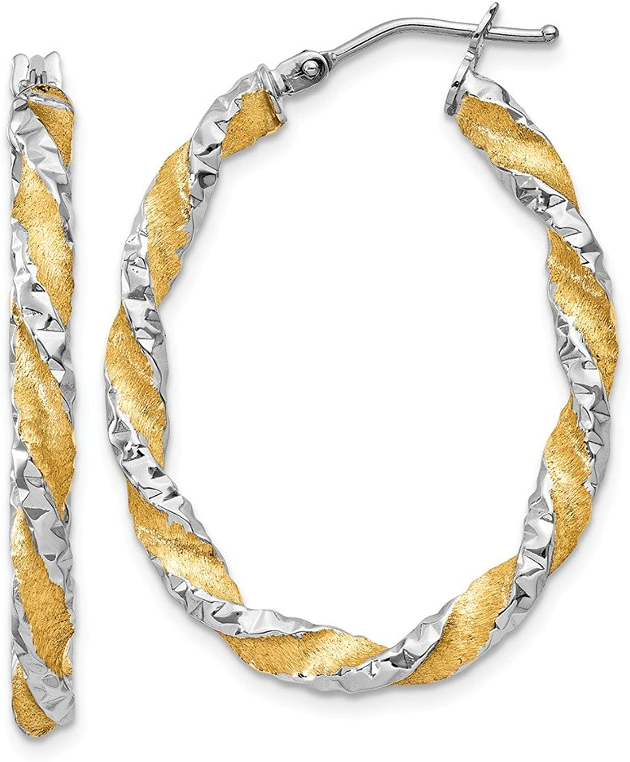 Beautiful Yellow gold 14K Yellowgold 14k & Rhodium Twisted Hoop Earrings