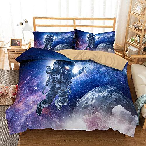 HGFHGD Buntes Sternenhimmel-3D-Weltraum-Astronauten-Muster, Bettwäsche für Jungen, Erwachsene, Kinder, Bettbezug-Set, Kissenbezug, Steppdecke, Bettbezug