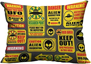 alsohome Decorative Throw Pillow Case Warning Signs with Alien ces Heads Galactic Paranormal Activity Cotton Linen Durable 13x17.5 inch(Double-Sided Printing)