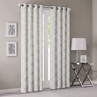 Madison Park Saratoga Room-Darkening Curtain Fretwork Print 1 Window Panel with Grommet Top Blackout Drapes for Bedroom and Dorm, 50x84, Ivory