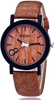 store MEIBO Modeling Wooden Quartz Watch Casual Wooden Color Leather Watch for Mens (Coffe)