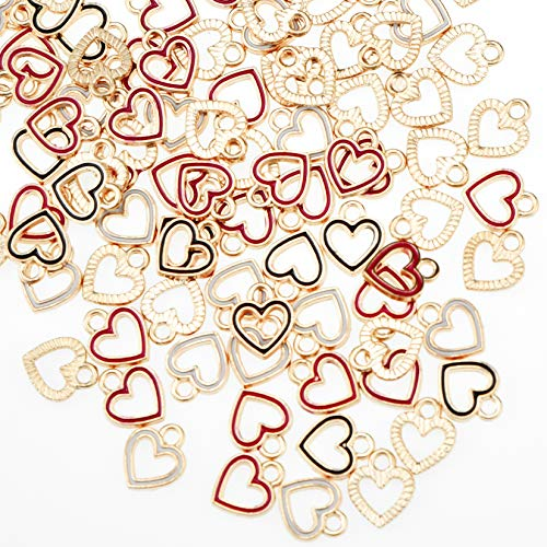 100pcs Heart Circle Enamel Charms Pendants Beads Hawaii Style Dangle Accessories for Valentine's Day DIY Craft Necklace Bracelet Jewelry Making