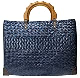 Rotfuchs Bolso de mano para mujer, bolso de paja para la compra, para la playa o el verano, hecho a mano de junco