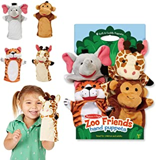 Melissa & Doug 9081 Zoo Friends Hand Puppets (Set of 4) - Elephant, Giraffe, Tiger, and Monkey