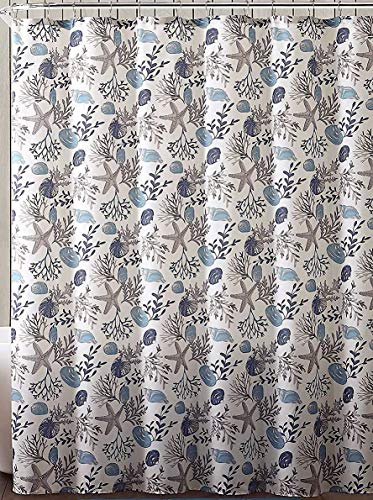 Fabric Ocean Sea Life Shower Curtain for Bathroom: Shells Coral Star Fish in Neutral Marine Blues and Tans