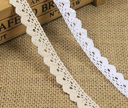 10 Yards 1/2 Inch Wide Cotton Lace Trim DIY Craft Delicate Ribbon Scallop Edge for Scrapbooking Gift Package Crocheted Lace Trim Craft Ribbon White